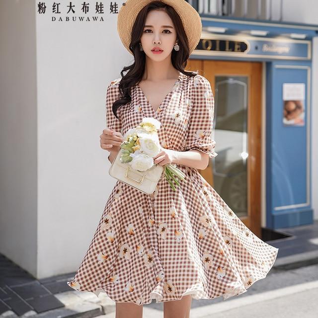 Original Summer 2018 Brand New Korean Fashion V-neck Short Sleeve Lantern Sleeve Waist Plaid Print Dress Women Wholesale