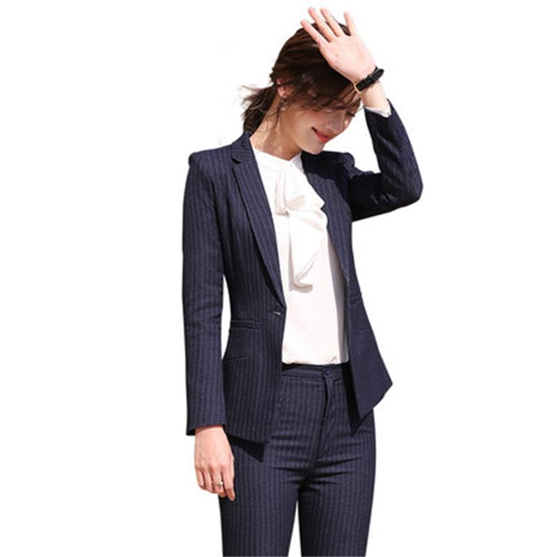 2 piece Stripes Pant Suits Formal Ladies Office OL Uniform Designs Women elegant Business Work Wear Jacket with Trousers Sets