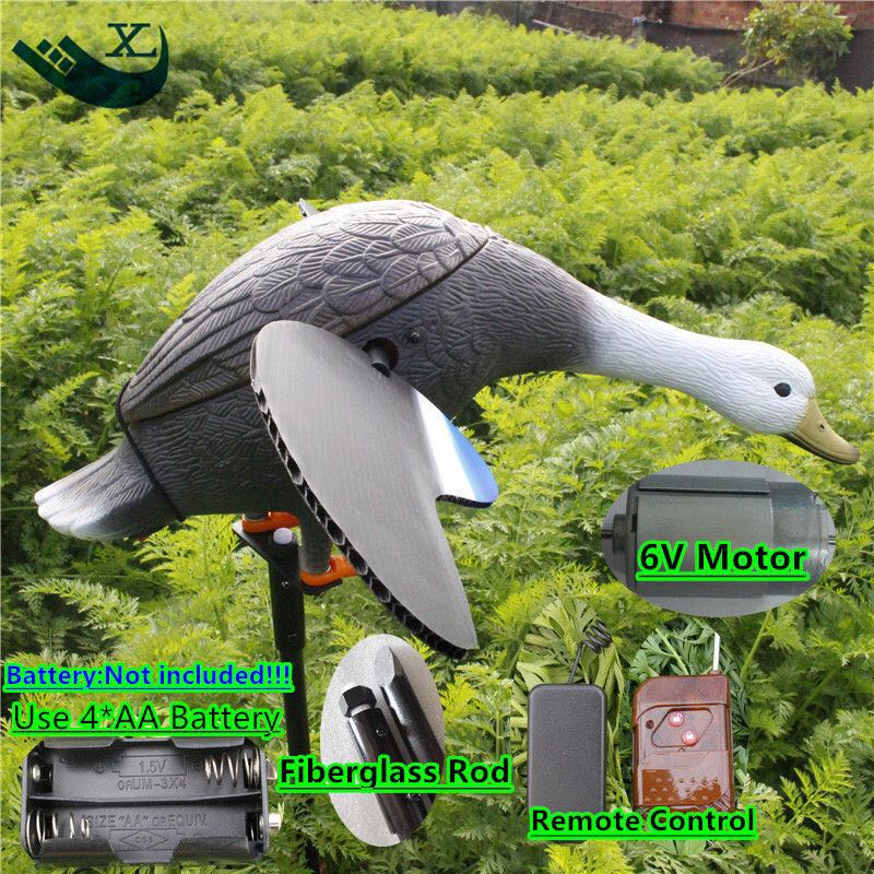ФОТО 2017 Free Shipping Wholesale Plastic Mallard Duck Decoy Deadly Hunting Decoy Plastic Remote Control 6V With Magnet Spinning Wing