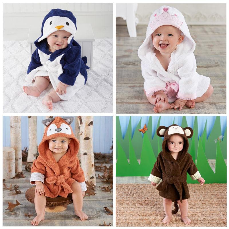 Cute Animal Robes Infant Toddler Kids Baby Girl Boy Hooded Bath Towel Wrap Bathrobe Bathing Blanket Throws Одежда