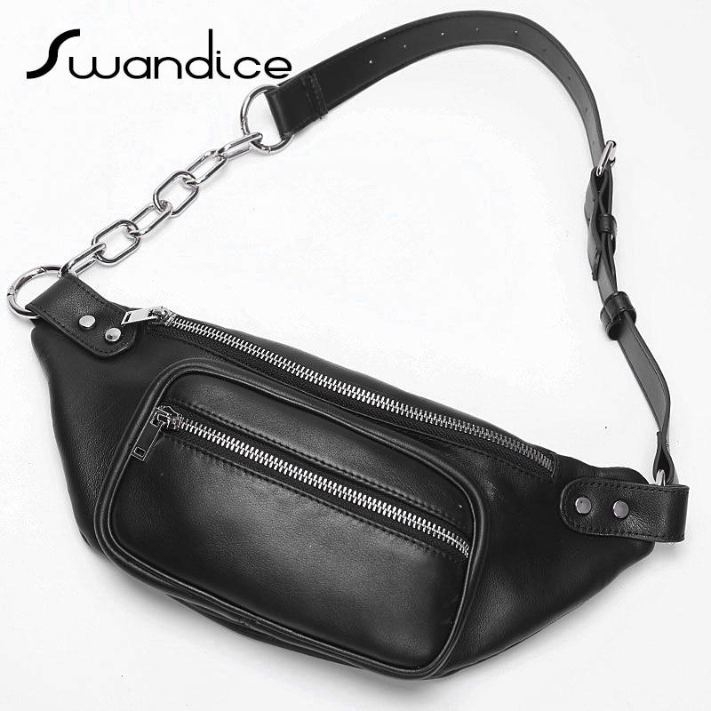 100 Real Genuine Cow Leather Fanny Packs Chest Waist Bum Belt Bags Chain Crossbody Shoulder Handbags