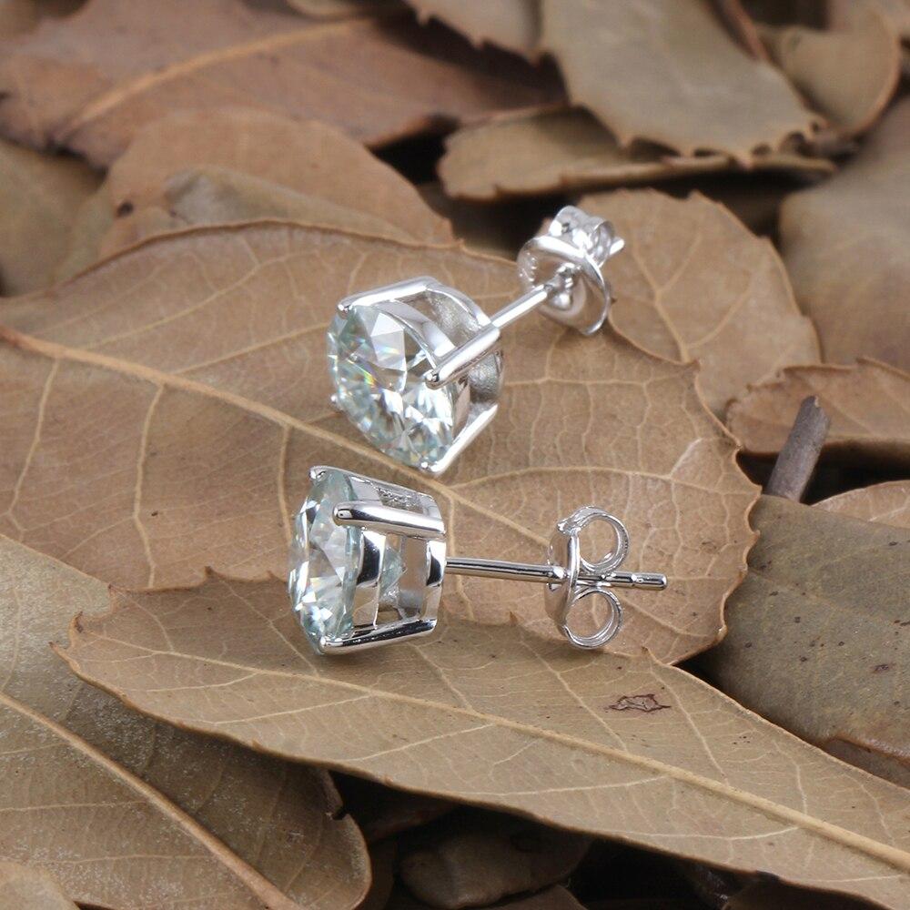 blue moissanite stud earring E-44-8 (10)