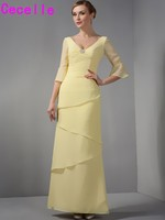 Sheath Yellow Tiered Chiffon Long Mother Of The Bride Dresses With Sleeves V Neck Modest Mother