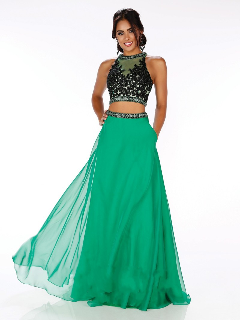 2016 hunter Green Two Piece Prom Dresses High Collar Applique Lace ...