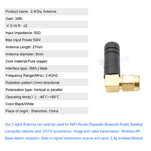 Image 5 - 2 PCS Mini 3dBi 2.4 ghz WIFI Antena de Borracha SMA Macho Router Antenas Bluetooth Módulo Sem Fio 2.4g Antena Externa aérea