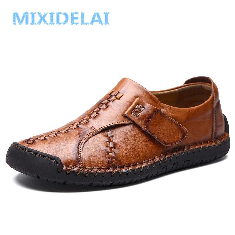 MIXIDELAI 2019 nuevo hecho a mano zapatos casuales cómodos zapatos de los hombres de los holgazanes zapatos de calidad de cuero de los hombres zapatos planos mocasines zapatos