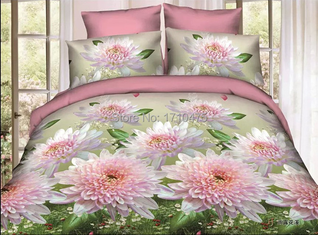 Newest Cute Spanish Design Printed Floral Pink Flower Bulk Bed Sheets King  Size 3d Bed Cover