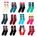 Fashion Art Cotton Crew Socks of Painting Famous Character Pattern for Women Men Harajuku Design Sox Calcetines VanGogh