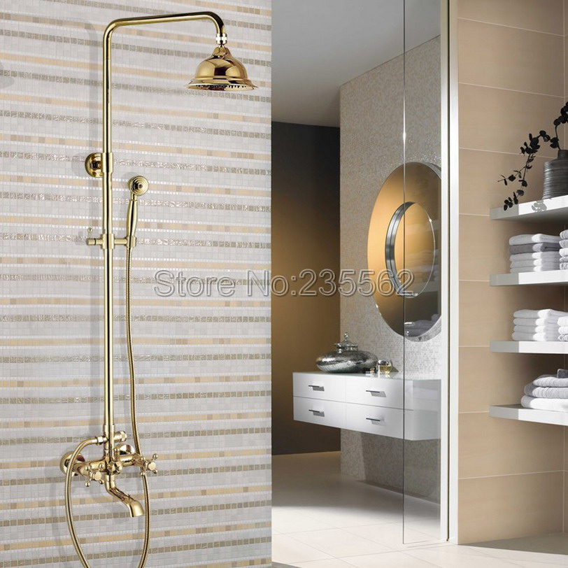Wall Mounted Dual Cross Handle Rain Shower Faucet Set Gold Color Brass Finish W/ Bathroom Tub Mixer Taps lgf386