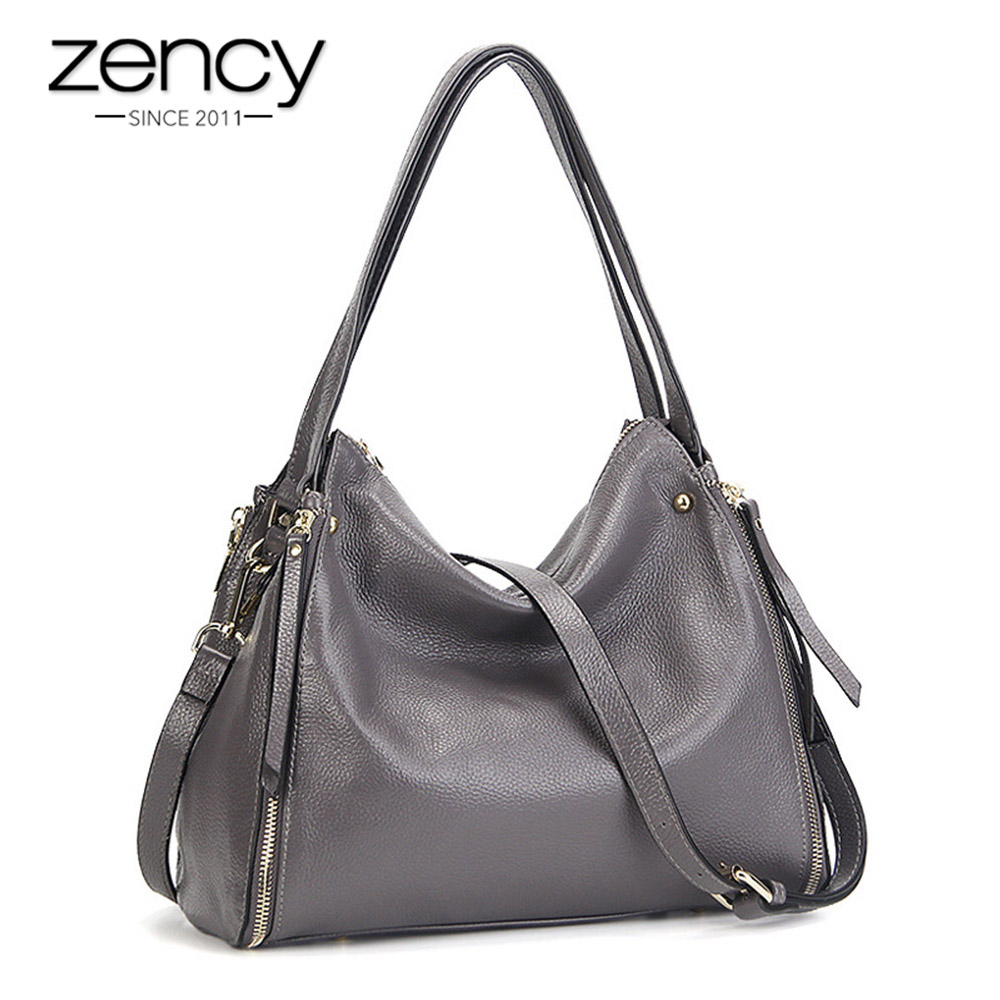Zency Fashion Women Shoulder Bag Real Soft 100% Natural Leather Hobos Ladies Crossbody Messenger Purse High Quality Grey Handbag