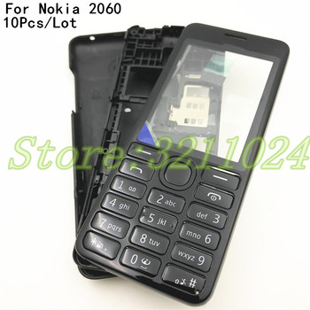 10Pcs/Lot Front Middle Frame Back cover Battery Cover For Nokia Asha 206 2060 Full Housing Cover Case With English Keypad+Logo image