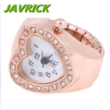 Copper Tone Heart Shape Housing Elastic Band Finger Ring Watch For Women