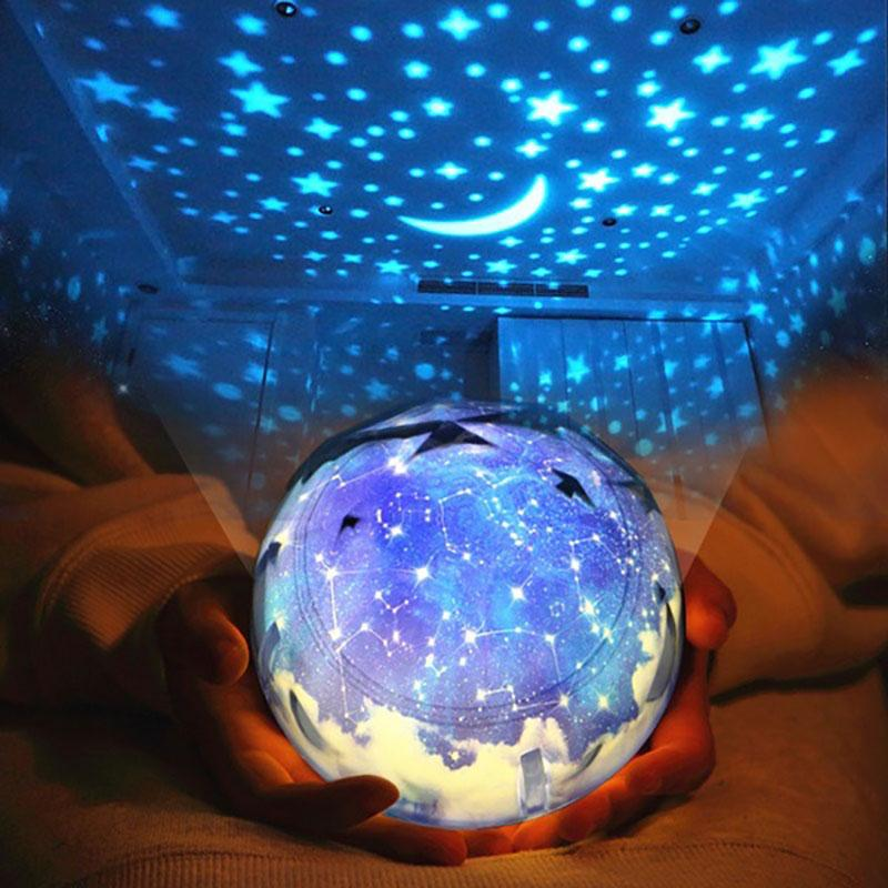 LED Night Light Projector USB AA Battery Powered Night Light Starry Sky Earth Rotating Projector Lamp