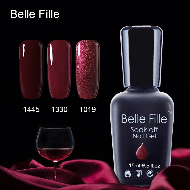 Belle Fille Wein Rot Gel Nagellack Für Party Make-Up Tränken Weg Lack Brauchen LED Lampe Rot Farbe Wein Charme gel Nagellack