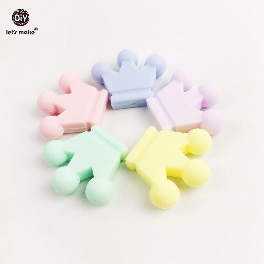 Lets make Baby Teether  Silicone Candy Crown 20PC Unfinished Silicone Crown Materials Nursing Teether Pendants Crafts Charms
