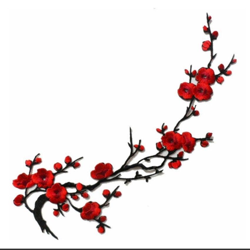 웃 유1pcs Butterfly Cherry ≧ Blossom Blossom Flower Iron On