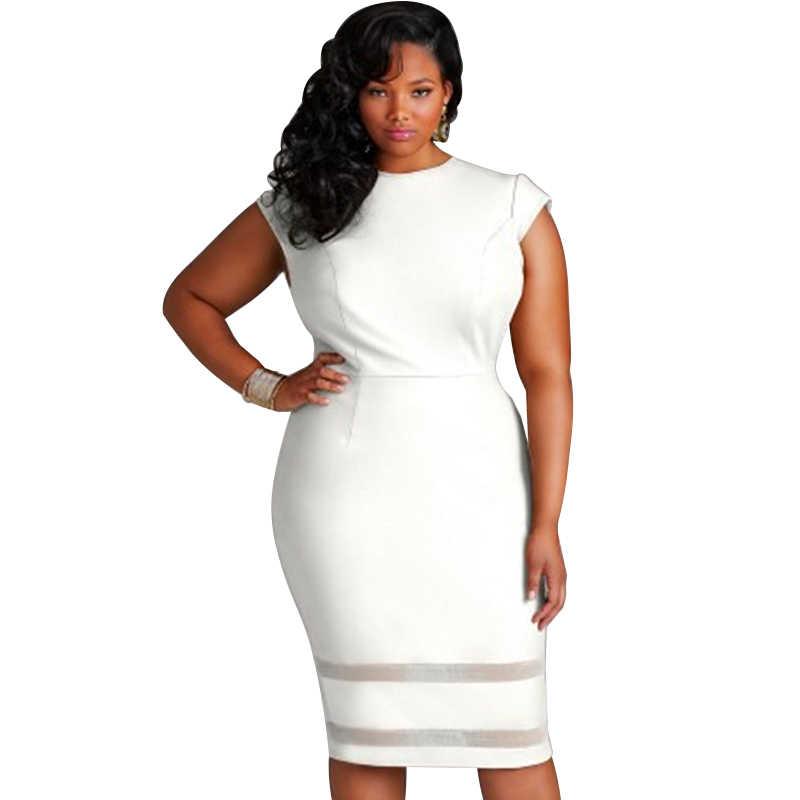 Sexy Women XXXL 4XL 5XL Plus Size Bodycon Dress Mesh Splice Solid Color  Bandage Dress Female 313ba55556aa