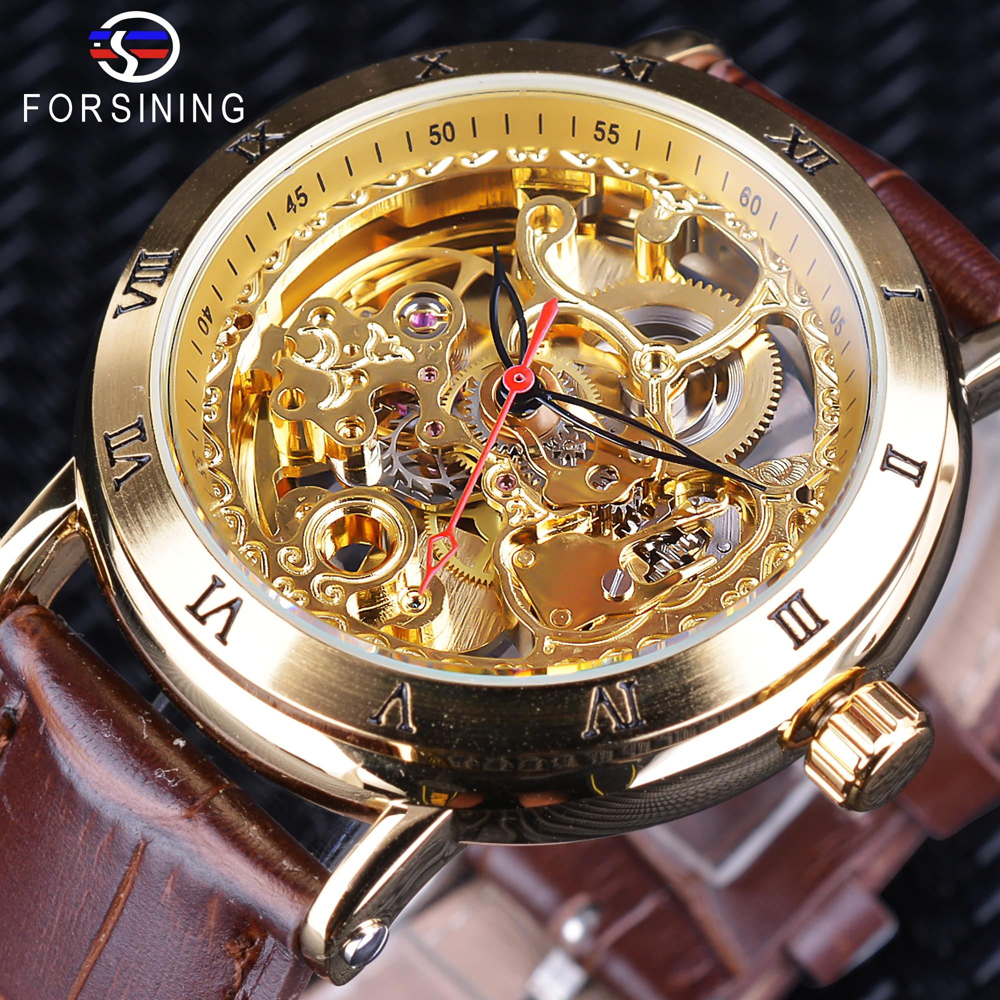 Forsining Ретро Золотой цветок роскошные часы Скелет Hollow Механические наручные часы коричневый кожаный пояс черный красный указатель