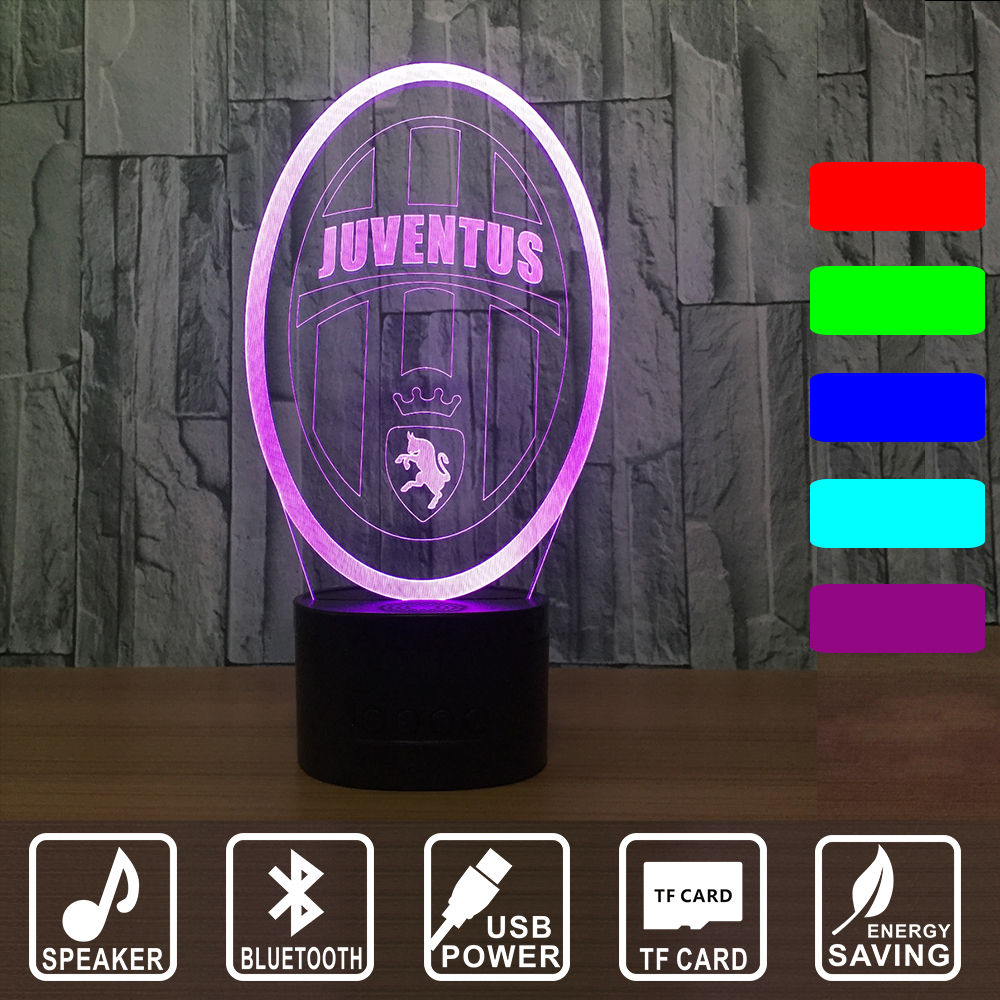 7 Colors Changing 3D Bluetooth JUVENTUS Football sign Acrylic Rugby Model LED Bedroom Bedside Night light for Babygift IY803022B 40 60cm customized acrylic signboard acrylic business sign for company