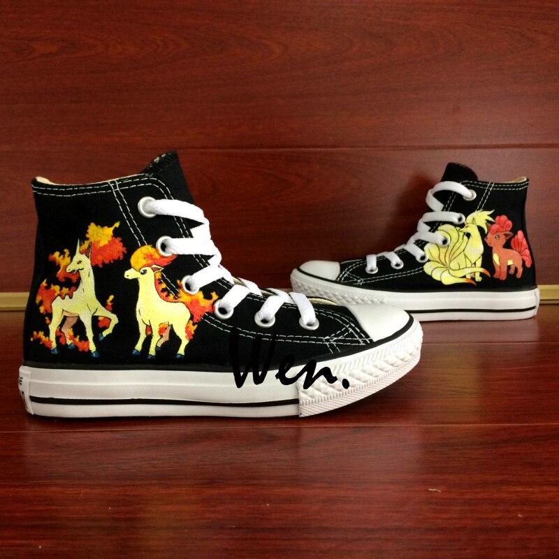 ФОТО Wen Anime Black Hand Painted Shoes Custom Design Pokemon Ninetales Rapidash Ponyta Vulpix Women Men's High Top Canvas Shoes