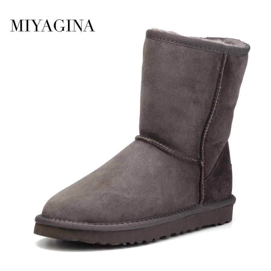 Botas de nieve de piel de oveja auténtica de calidad superior para mujer botas de invierno impermeables 100% botas de lana de piel Natural para mujer-in Botas de nieve from zapatos    1