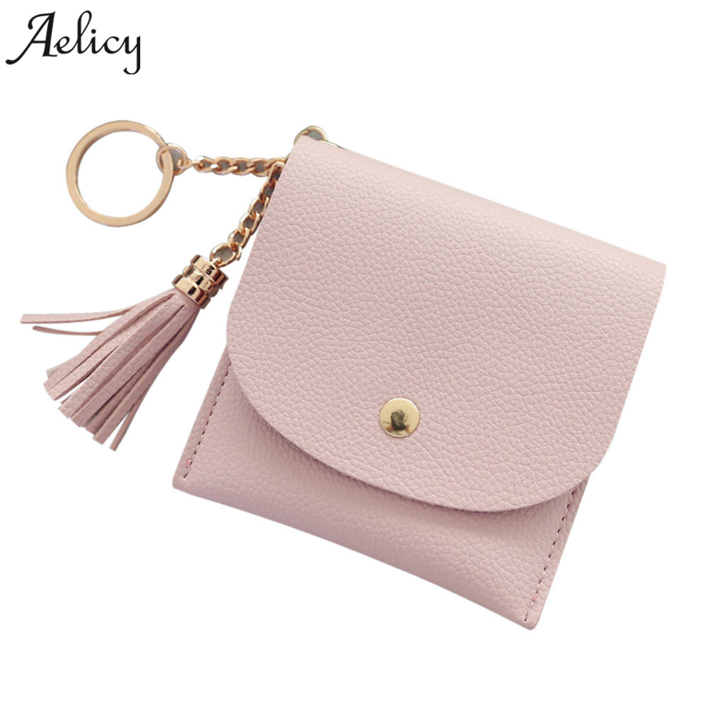Aelicy Classic Cute Women Mini Wallets Female Tassel Pendant Short Money Wallets PU Leather Lady Zipper Coin Purses Card Holder