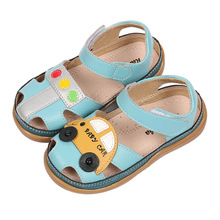 Children Shoes Boys Sandals Closed Toe 2019 Summer Cartoon Kids Leather Sandals Casual Flat Beach Soft Sole Baby Toddler Shoes apakowa new real genuine leather kids boys sandals children closed toe summer shoes cutout boys sandals children leather sandals