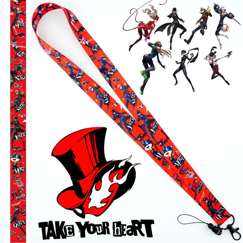 Anime Game Persona 5 P5 Red Figure Neck Strap Lanyard Mobile Phone Strap ID Holder Rope Key Chain Key rings cosplay Accessories image