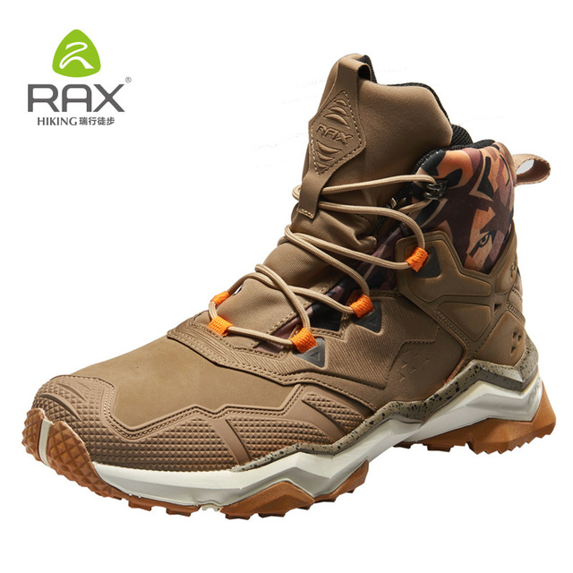 Rax Men's Hiking Boots Waterproof Tactical Boots for Men Mountain Outdoor Sports Shoes Genuine Leather Hiking Shoes Lightweight