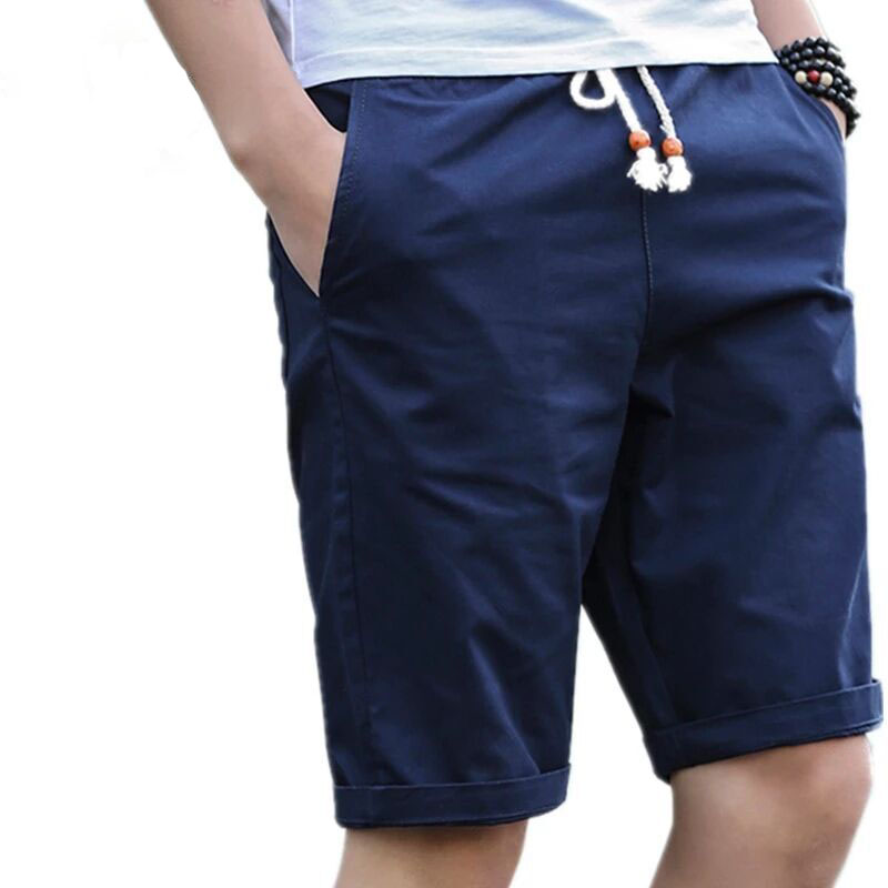 2018 New Mens Shorts Summer Causal Cotton  Solid Knee Length Drawstring Mid Pockets Shorts Multi-color Plus Size 5XL Hot Sale