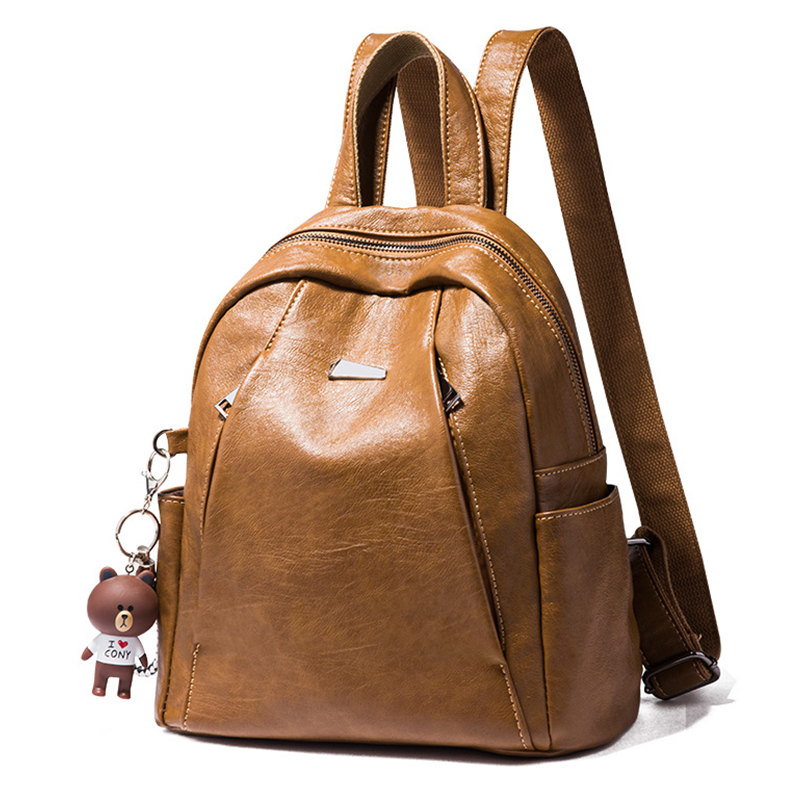 Women Backpack Genuine Leather School Backpacks For Girls Fashion Bear Pendant Soft Travel Teenager Bags Feminima Mochila New