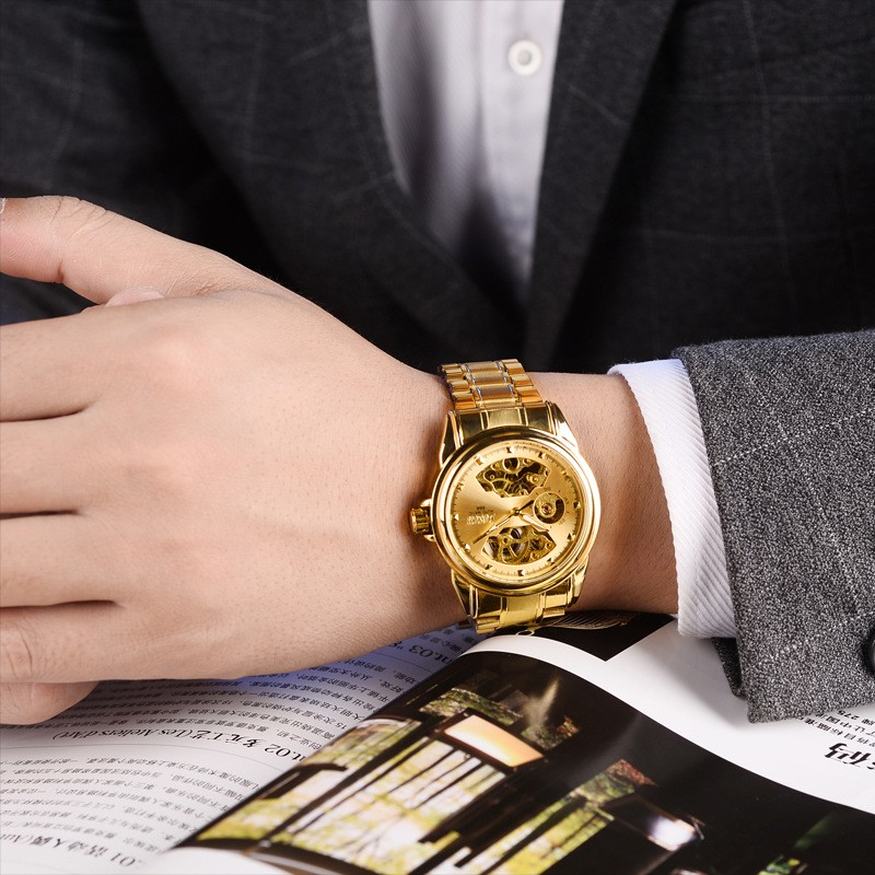 BOSCK Automatic Mechanical Wrist Watch Men Self-winding Skeleton Watches Top Brand Luxury Gold Watch Clock erkek kol saati 6