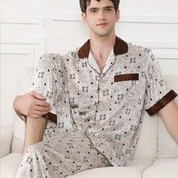 Mens Silk Stain Pajamas Set Summer Autumn 2019 New Silk Homewear Night suit Short Sleeve and pants Sets Man Piyamas Sets 2xl