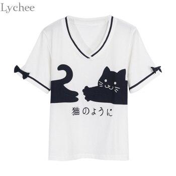 Lychee Sweet Summer Women T Shirt Cute Cat Japanese Print Bow Tie V Neck Short Sleeve T-shirt Tee Top