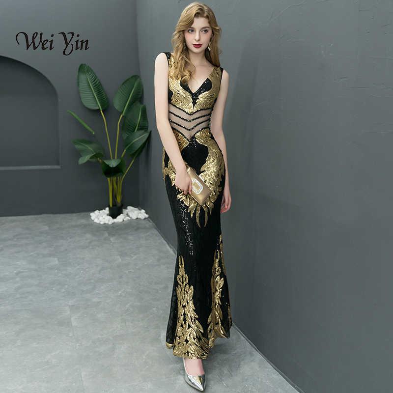 e9660e6a198 weiyin Evening Dress Long Sparkle 2019 New V-Neck Women Elegant Sleeveless  Sequin Mermaid Maxi