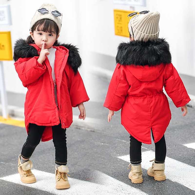 Kids Girls Parka Fashion Winter Coat Jacket Solid Remove Big Fur Collar Children Girl Casual Padded Jackets Outerwear 90-130 new men jackets winter cotton padded jacket men s casual zipper warm parka fashion stand collar thicken print outerwear coat