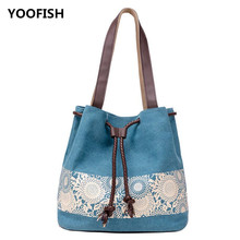 Hot sale Trendy Female canvas shoulder bag printed with retro casual rope, double-purpose bill of lading XZ-109.