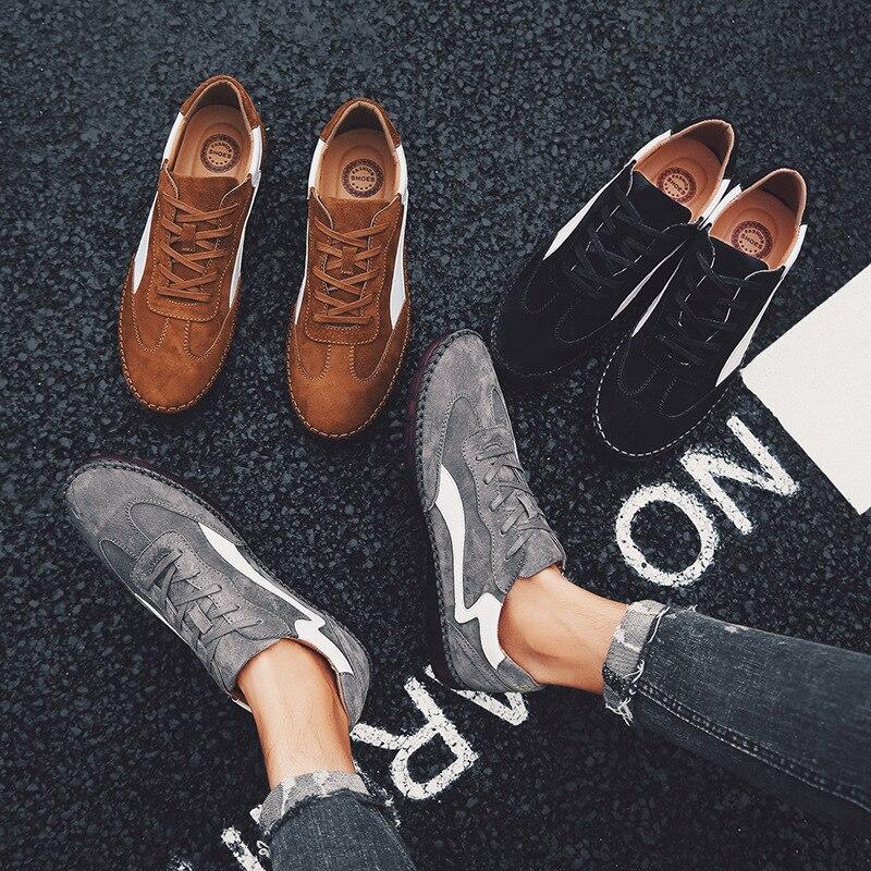 cinza Rua Marca Calçado Casuais De Genuíno Masculinos Plana Sapatilhas Da Preto marrom Legal Sapatos Homem Forma A529 Couro Cg4UqTwq