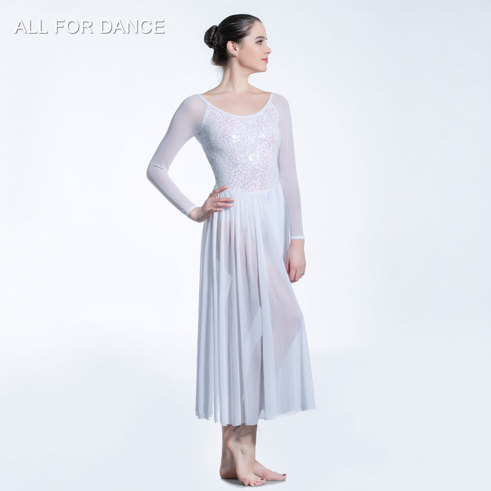 White Sequin Lace Bodice with mesh skirt ballet dress Girl & Women stage performance ballet costumes lyrical & contemporay dress image
