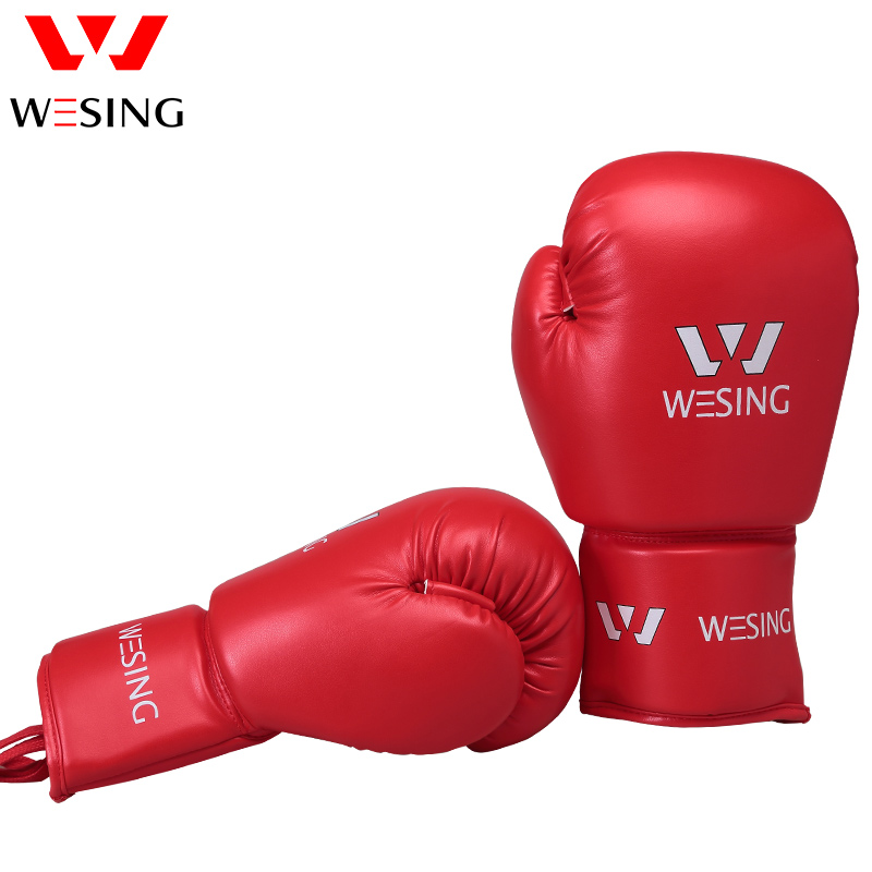 WESING Pro Tied Style Boxing Sparring Gloves with Large Size for Men Women Competition Lace-Up Leather Training Gloves 16 Oz wesing aiba approved boxing gloves 12oz competition mma training muay thai kickboxing sanda boxer gloves red blue