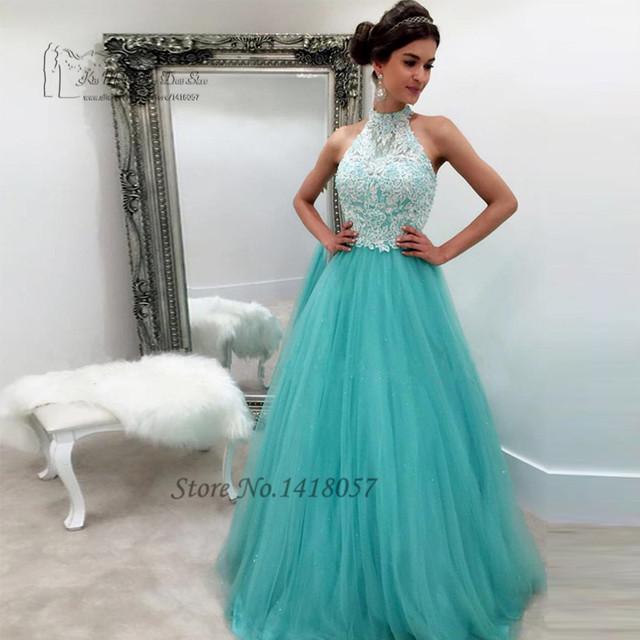 Mais recente Projeto Elegante Longo Vestidos De Baile 2017 Rendas Sexy Vestidos De Aniversário para o Partido Turquesa Vestido de Formatura Vestidos de Tule Sequin