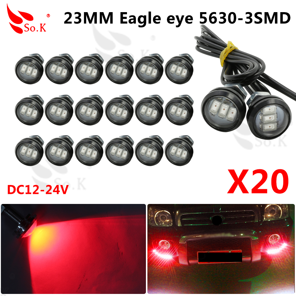 Car Stytling10pcs DC12V 23mm Eagle Eye DRL LED Daytime Running Light work light source Waterproof Fog Parking Light Hot selling new arrival a pair 10w pure white 5630 3 smd led eagle eye lamp car back up daytime running fog light bulb 120lumen 18mm dc12v