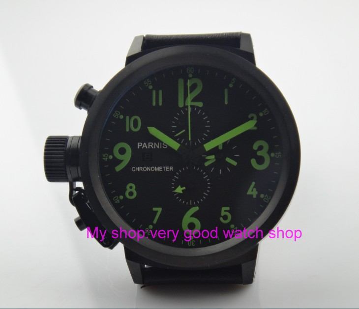 50mm PARNIS black dial Japanese quartz movement Chronograph multifunction men's watch Auto Date Quartz watches PVD case SY12 50mm parnis black dial japanese quartz movement chronograph multifunction men s watch auto date quartz watches pvd case sy14