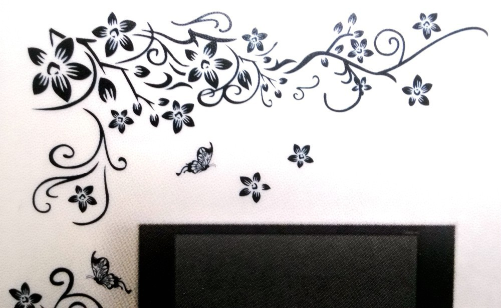 Hot DIY Wall Art Decal Decoration Fashion Romantic Flower Wall Sticker/ Wall Stickers Home Decor 3D Wallpaper Free Shipping 18