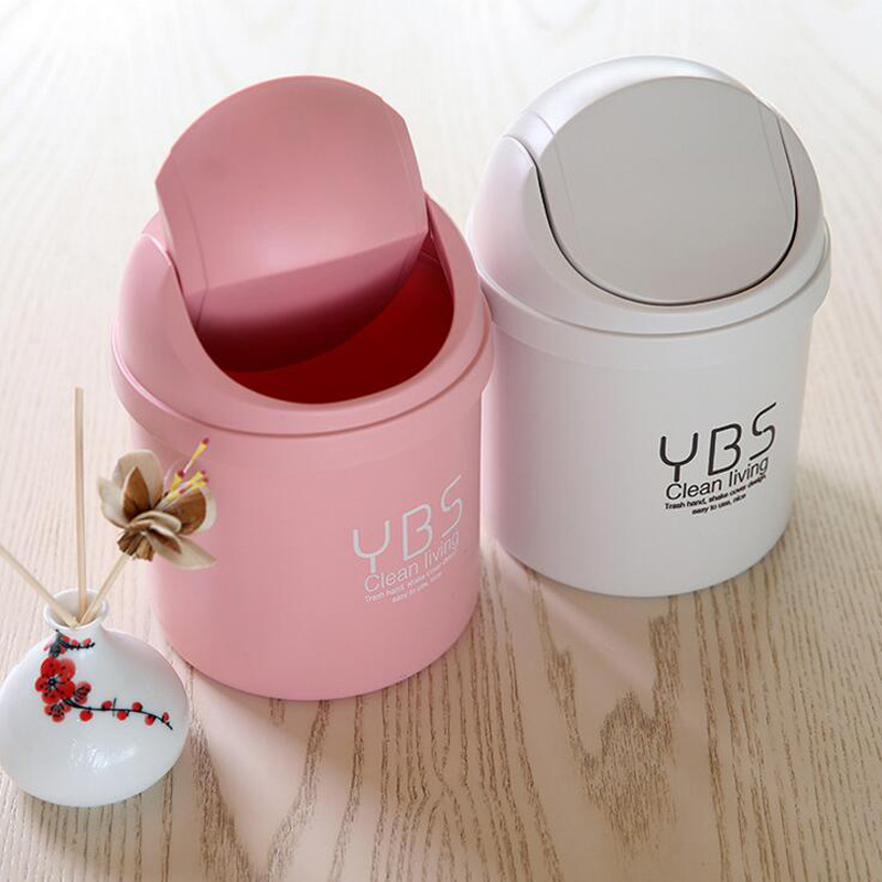 1pc household clean trash can debris storage mini trash can lid desk plastic bucket desktop - Small trash can with lid ...