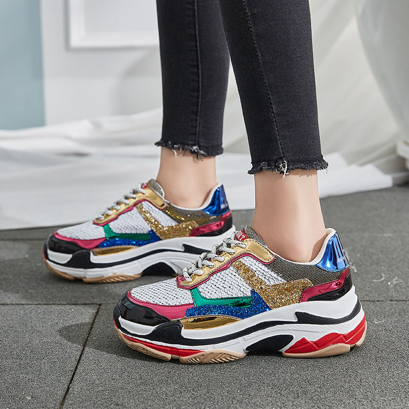 Chaussures de luxe femmes Bling dames Chunky papa Sneakers couleur mixte poisson-scale dames plate-forme chaussures haute rue taille 35-39 820 wChaussures de luxe femmes Bling dames Chunky papa Sneakers couleur mixte poisson-scale dames plate-forme chaussures haute rue taille 35-39 820 w