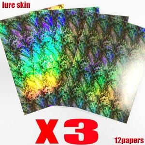 Image 3 - ¡Aquí está usted quiere! Pegatinas para señuelo de pesca caliente, accesorios de material holográfico, gran tamaño: 10CM * 15CM, lotes: 12 papeles