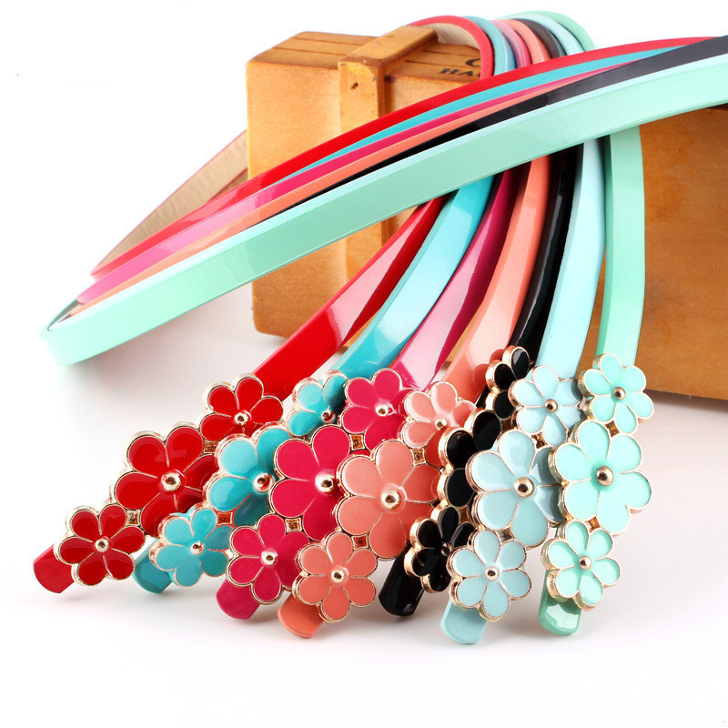 New Design Belts Thin Adjust Belt PU Leather Dress Cummerbunds Students Women Waistbands Red Flower Buckle Square Gifts