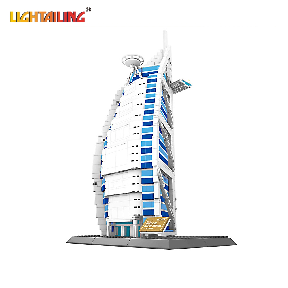 ФОТО LIGHTAILING Brand 1307Pcs Dubai Arab Hotel Structure Model Building Blocks Bricks For Kids Toys Compatible with Lego