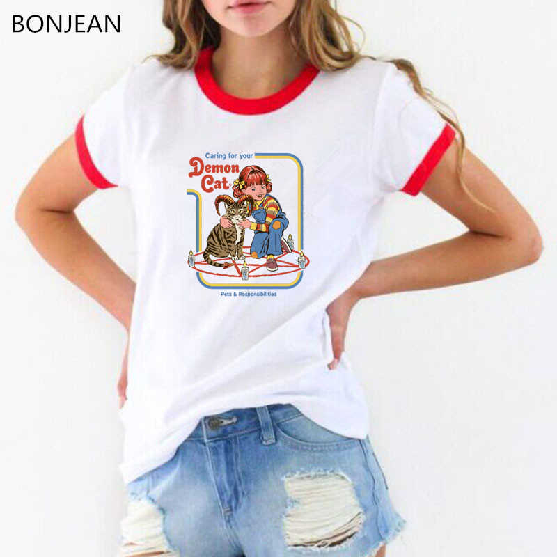 Pop American horror story tshirt caring for your demon cat printed ulzzang tumblr t shirt women vintage funny t shirts tops tee